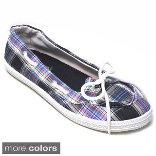Blue Women`s Boaty Plaid Boat Shoes