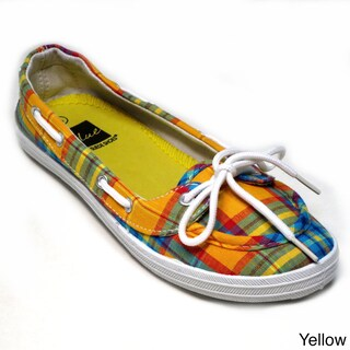 Blue Women`s Boaty Plaid Boat Shoes (3 options available)