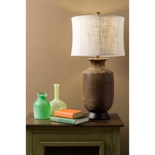 Oval Wood Finish Table Lamp