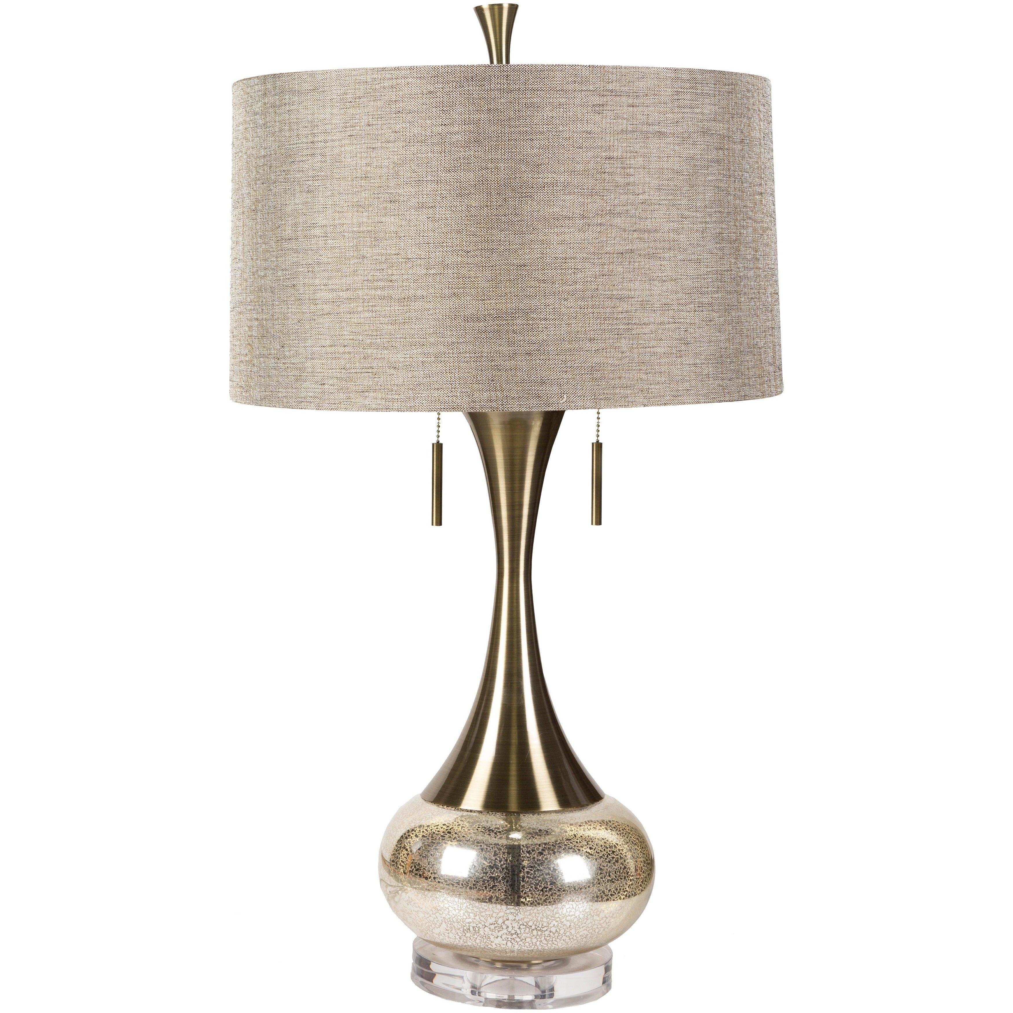 SURYA Deep Gold Lust Table Lamp (Glowing), Beige (Brass)