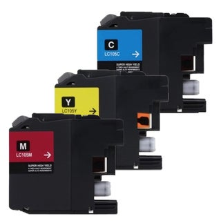 Brother LC107 Cyan, Yellow, Magenta Compatible Ink Cartridge (Remanufactured) (Pack of 3)