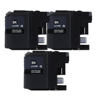 Brother LC107 Black Compatible Ink Cartridge (Remanufactured) (Pack of 3)