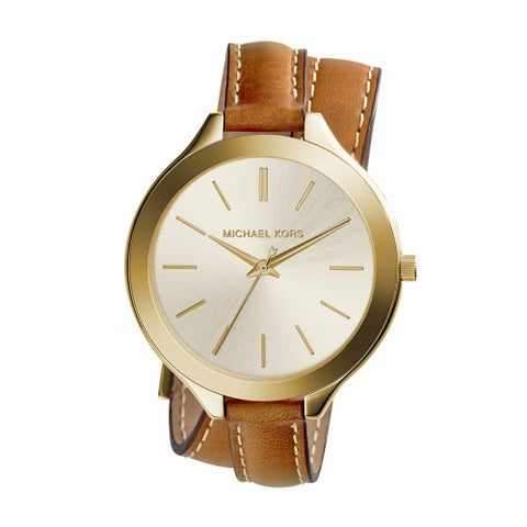 Michael Kors Women's 'Runway' Slim Double Leather Watch - Gold