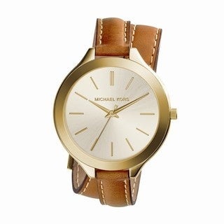Michael Kors Women's MK2256 'Runway' Slim Double Leather Watch - Gold