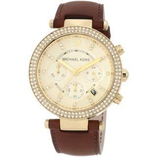 Michael Kors Women's MK2249 Leather Band Chronograph Watch https://ak1.ostkcdn.com/images/products/8685354/P15939578.jpg?impolicy=medium