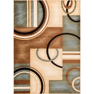 Generations Modern Abstract Geometric Circles Light Blue, Beige, Ivory, and Brown Area Rug (9'3 x 12'6)