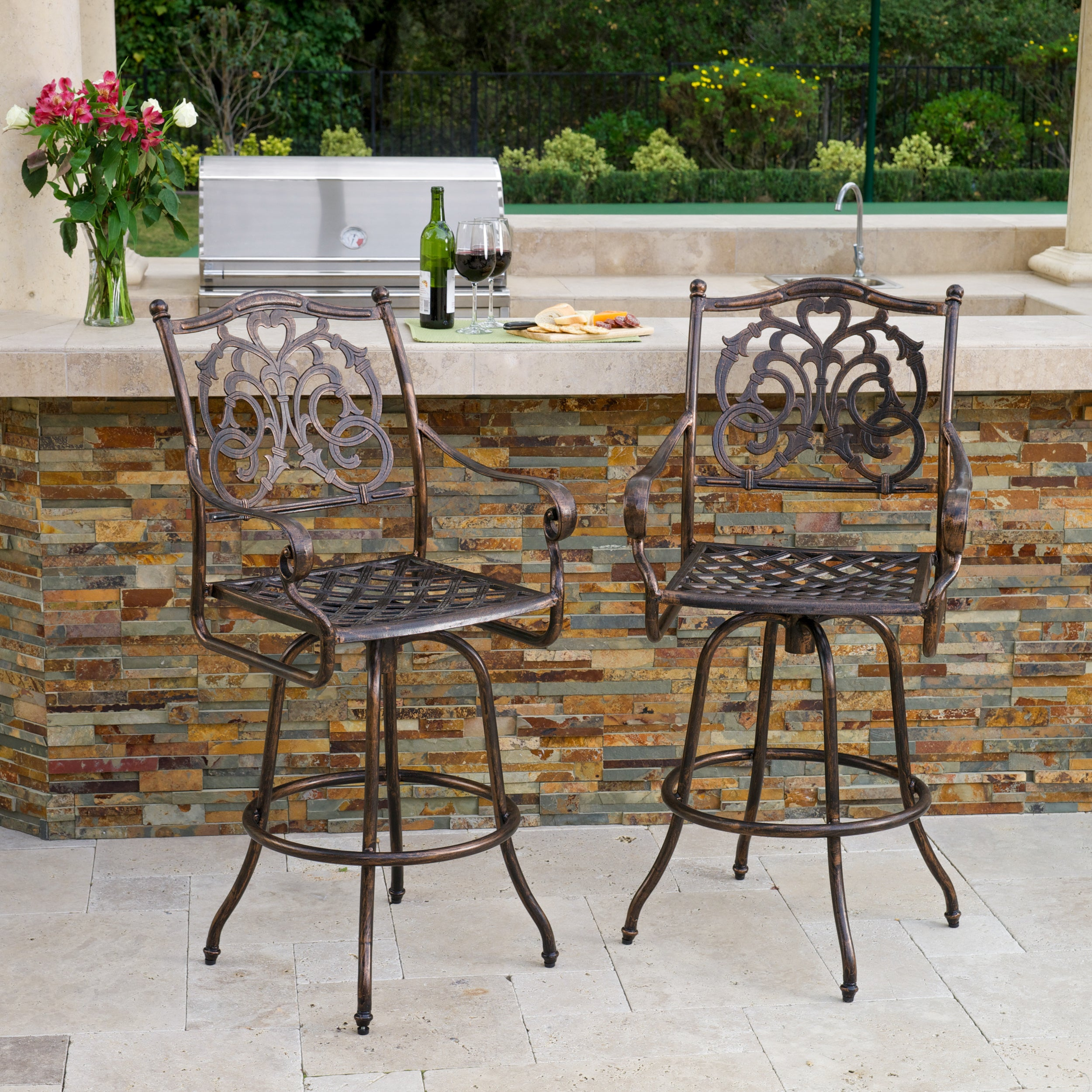 Superb Casselberry Cast Aluminum Outdoor Bar Stool Set Of 2 By Christopher Knight Home Squirreltailoven Fun Painted Chair Ideas Images Squirreltailovenorg
