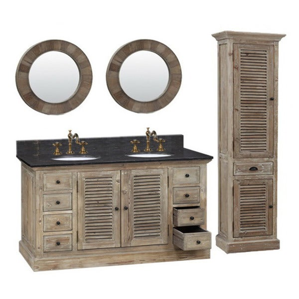 60-inch Marble Top Double Sink Rustic Bathroom Vanity with Dual Wall Mirror and Linen Tower. Opens flyout.