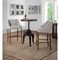Aoki Upholstered Beige 30-inch Barstool by Kosas Home