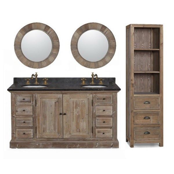 Shop 60 Inch Marble Top Double Sink Rustic Bathroom Vanity