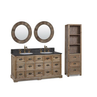 60-inch Marble Top Double Sink Rustic Bathroom Vanity with Matching Dual Wall Mirrors and Linen Tower