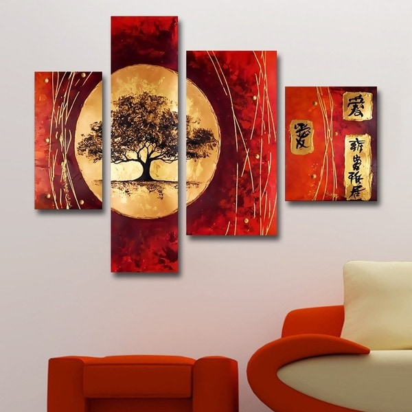 Asian tree hand painted 4 piece painting free shipping for Asian wall mural