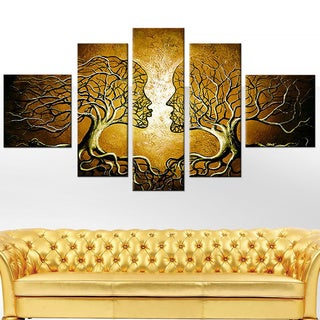 Brown Human Tree 5-piece Painting