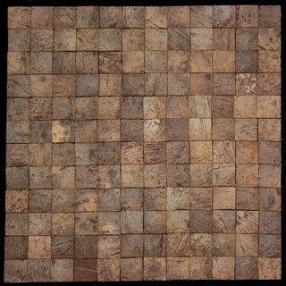 Square Natural Brown Convex Coconut Wall Tile