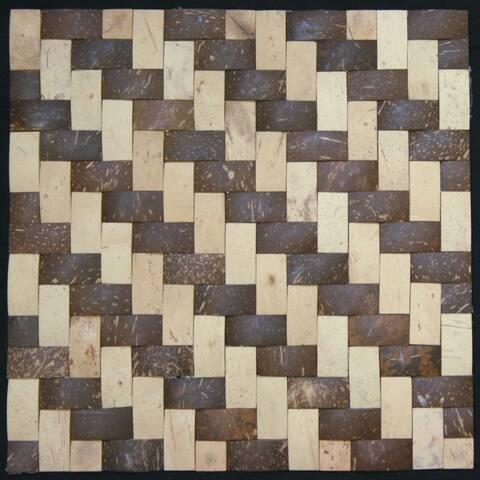 Natural Tan/ Dark Brown Convex Coconut Wall Tile