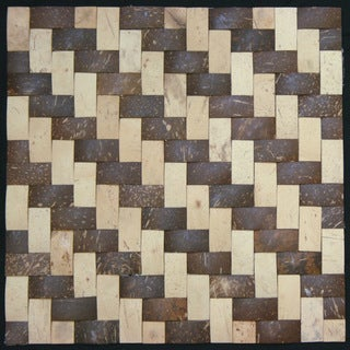 Natural Tan/ Dark Brown Convex Coconut Wall Tile