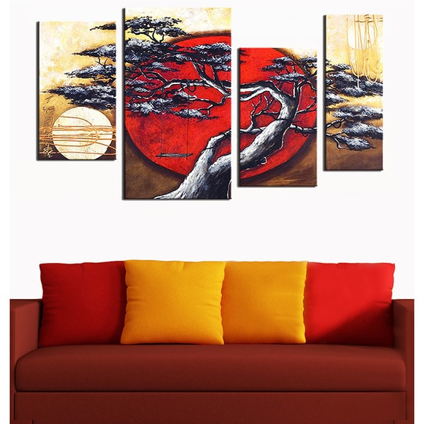 Japanese Tree Hand-painted 4-piece Art