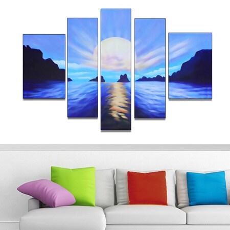 Blue Seascape Hand-painted 5-piece Art Set (Hand Painted-...
