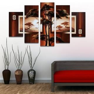 African Tree Landscape Hand-painted & Textured 5-piece Artwork - 60 x 32|https://ak1.ostkcdn.com/images/products/8686388/P15940264.jpg?impolicy=medium