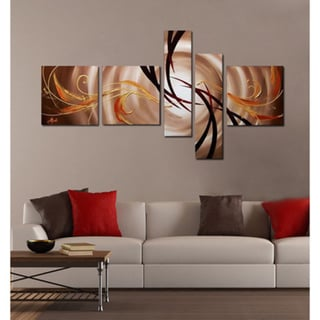 Brown Abstract Hand-painted 5-piece Painting