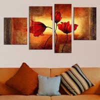 Modern Red Flowers Hand-painted Oil on Canvas 4-piece Painting