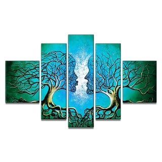 Blue Human Tree Hand-painted Oil on Canvas 5-piece Painting