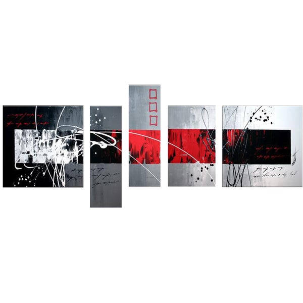 Red & Grey Abstract Design Hand-painted 5-piece Oil Painting - Red/Grey
