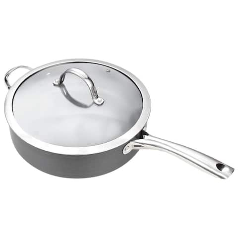 Cooks Standard 5 Quart/11-Inch Hard Anodized Nonstick Deep Saute Pan with Lid and Helper Handle, Black