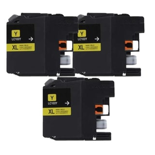 Brother LC103 Yellow Compatible Ink Cartridge (Remanufactured) (Pack of 3)