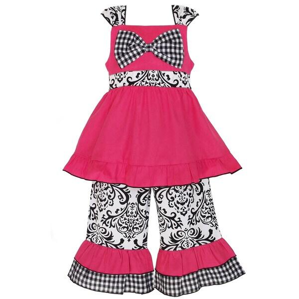 AnnLoren Girl's Hot Pink Tunic & Damask Capri Set