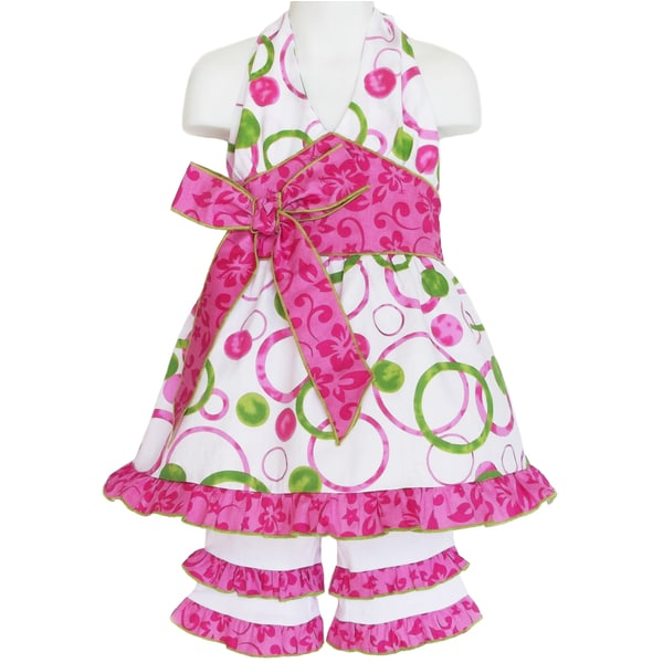 AnnLoren Girl's Pink and Green Circle Shirt & Capri Set