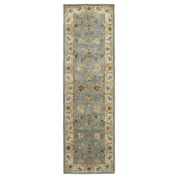 """Hand-tufted Royal Taj Aqua Wool Rug - 2'3"""" x 7'9"""""""