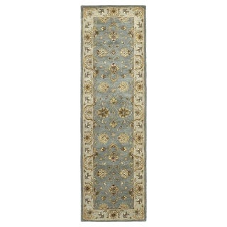 Hand-tufted Royal Taj Aqua Wool Rug (2'3 x 7'9)