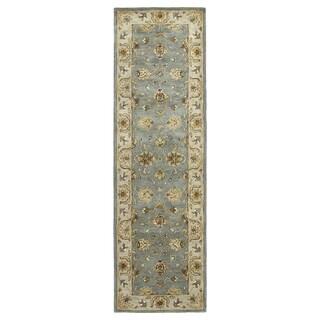 Hand-tufted Royal Taj Aqua Wool Rug (2'3 x 7'9)