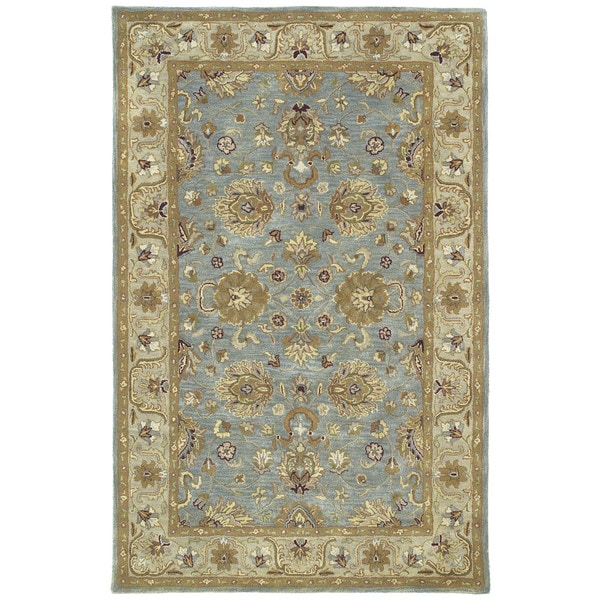 Hand-tufted Royal Taj Aqua Wool Rug - 8' x 10'