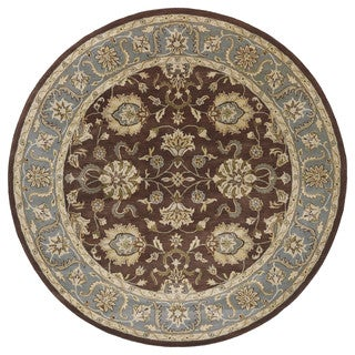 Hand-tufted Royal Taj Brown Wool Area Rug (5'9 Round)
