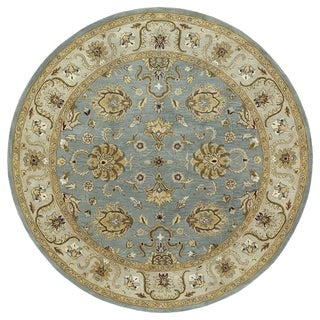 Hand-tufted Royal Taj Aqua Wool Area Rug (5'9 Round)