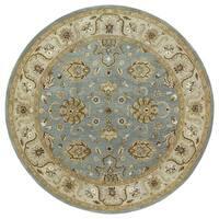 Hand-tufted Royal Taj Aqua Wool Area Rug (5'9 Round)