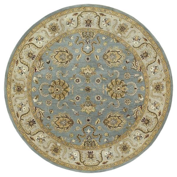 "Hand-tufted Royal Taj Aqua Wool Area Rug - 7'9"" Round"