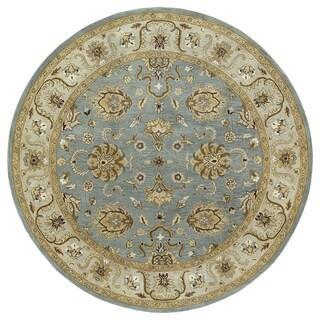 Hand-tufted Royal Taj Aqua Wool Area Rug (7'9 Round) - 7'9 x 7'9
