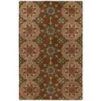 Hand-tufted Royal Taj Raspberry Wool Area Rug (8' x 10') - 8' x 10'