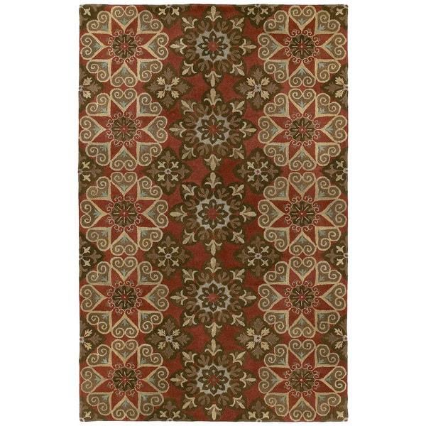 Hand-tufted Royal Taj Raspberry Wool Area Rug - 8' x 10'