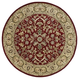 "Hand-tufted Royal Taj Red Wool Rug - 7'9"" Round"