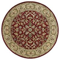 "Hand-tufted Royal Taj Red Wool Rug (9'9 Round) - 9'9"" Round"