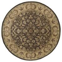Hand-tufted Royal Taj Chocolate Brown Wool Rug - 7'9 x 7'9