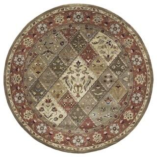 "Hand-tufted Royal Taj Multicolored Wool Rug - 7'9"" Round"