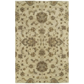"Hand-tufted Royal Taj Sand Wool Rug - 7'9"" Round"