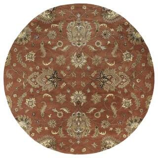 Hand-tufted Royal Taj Copper Wool Rug (9'9 Round)
