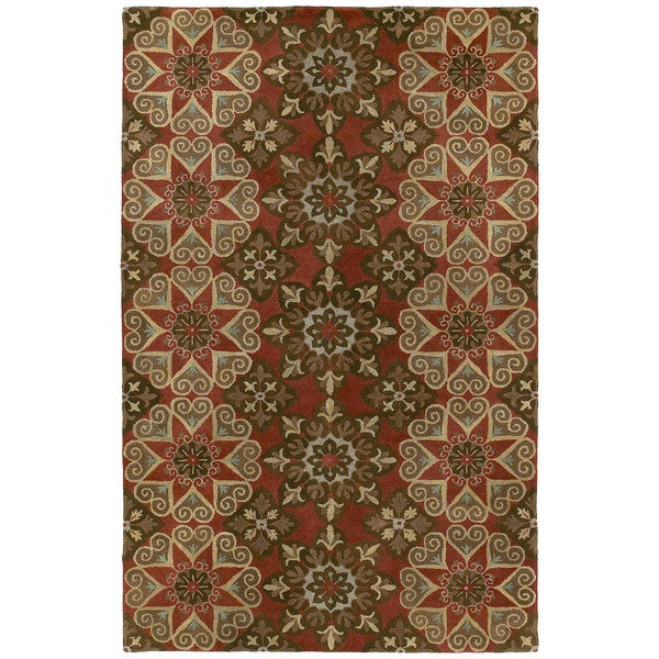Hand-tufted Royal Taj Raspberry Wool Rug (5' x 7'9)