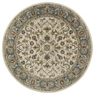 Hand-tufted Royal Taj Beige Wool Rug (5'9 Round)